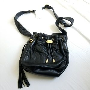 Badgley Mischka Black Leather Crossbody Purse